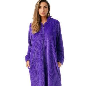 Just Love Plush Zipper Lounger Robe Purple S